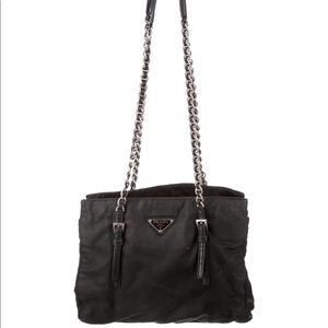 Authentic Prada nylon chained shoulder bag